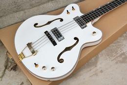 Белые гитарные струны онлайн-Фабрика изготовленная на заказ OEM 4 струнная белая электрическая бас-гитара с полым корпусом, обвязка корпуса, золотые аксессуары для оборудования, индивидуальное обслуживание