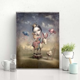 figure girl oil painting Promo Codes - Nicoletta Ceccoli Sweet girl Canvas Painting Wall Picture Poster And Print Decorative Home Decor