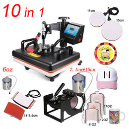 transfer press sublimation machine Promo Codes - 10 In 1 Combo Heat Press Machine,Sublimation Heat Press,Heat Transfer Machine For Mug Cap Tshirt Phone cases