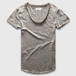 Cucharada de los hombres t shirt online-Zecmos Plain Basic Top Tees Hombres Casual Deep V Scoop Neck T-Shirt Hombre Slim Fit T Shirt Lujo dobladillo curvo Navy Tee Muscle