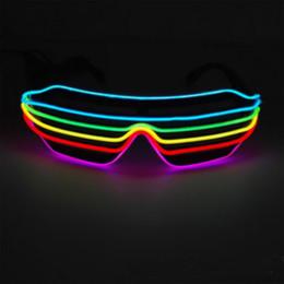 2019 vestiti da filo Luminous Eyeglasses Nightclub Party Articoli Adult Halloween Abbigliamento Decorazione EL Wire Light Up Occhiali Luminosi Toy 2 Pezzi ePacket sconti vestiti da filo