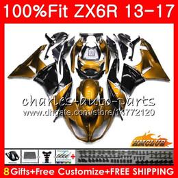 ninja 636 de oro negro Rebajas Inyección para KAWASAKI NINJA ZX 636 600CC ZX-6R ZX6R 13 32NO.64 ZX 6R ZX-636 2013 2014 2015 oro negro nuevo 2016 2017 13 14 15 16 17 Carenados