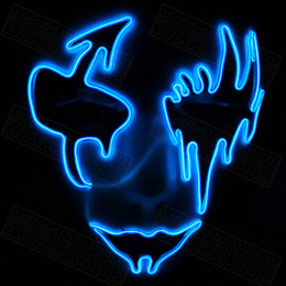 2020 máscara de baile fantasma EL Three Light Modes El Wire Ghost Mask Led Light Up Neon Mask para Halloween Scary Cosplay Masquerade Dancing Party Máscaras luminosas rebajas máscara de baile fantasma