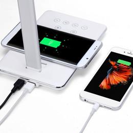 lampe de bureau chargeur usb Promotion DOITOP Chargeur de bureau universel sans fil USB de charge pour Smartphone se pliant chargeur sans fil QI avec 4 lampe de bureau de couleur claire