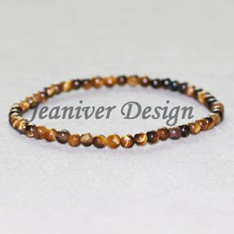 Gioiello in pietra tigre online-Jeaniver 2019 Natural Tiger Eye Bracciale 4 mm Stone Beads Bracciale Mini Gem Stone Bracciale Energy