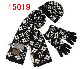 Перчатки классические онлайн-Высокое качество Мужчины Женщины Классический дизайнер Hat шарф Европейский высокого класса бренда Шляпы Шарфы Перчатки Комплекты вязаной шапочке моды глушитель аксессуары