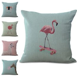 linen giraffe cushion cover Promo Codes - Flamingo Sheep Giraffe Animal Pillow Case Cushion cover linen cotton Throw Square Pillowcase Cover Home Decor Drop Ship 300749