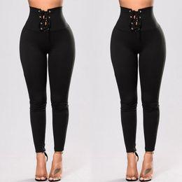 Yoga pants europe online-Pantaloni da yoga delle nuove donne Europa Lace Up pantaloni a vita alta Tuta sportiva Lady Bodycon Slim matita pantaloni C4062
