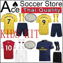 2019 kit de futebol amarelo preto New ARSEN kids kit camisa de futebol 19 20 menino set para casa longe terceiro preto azul vermelho branco amarelo 2019 2020 criança camisa de futebol camisola kit de futebol amarelo preto barato