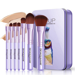 Maquetas de maquillaje online-Set de pinceles de maquillaje multifunción Powder Foundation Eye Shadow Eyebrow Eyelash Make Up Brush Kits con caja 7Pcs / set RRA1761