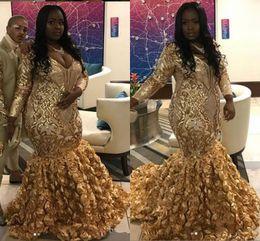 a416a40aa8d 2019 abiti da occasione speciale di formato piccolo Oro nero ragazze Plus  Size Prom Dresses 2019