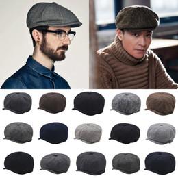 Cappelli da golf cabbie online-Newsboy cappello Vintage Beret Golf lana tweed a spina di pesce Berretto Cabbie piatto Cabbie dello strillone Caps KKA7542