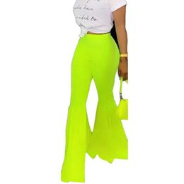 Pantalon large vert en Ligne-Green Flare Leg Pants Femmes 2019 Mode Sexy Streetwear Bell Bas Pantalon D'été Taille Haute Large Jambe Pantalon