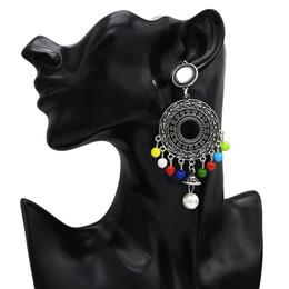 cuenta india Rebajas Pendientes de la India afgana Jaula de pájaros oxidada de oro plateado Granos de resina grandes Orejas largas de borla larga Egipto Nepal Gypsy Jhumka Boho Jewelry