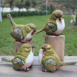Garten im freien online-Garten Vögel spielerisch Elster Statue im freien künstliche Vogel Harz Vogel 4 Stück ein Satz Garten Dekor Wohnkultur Kunst