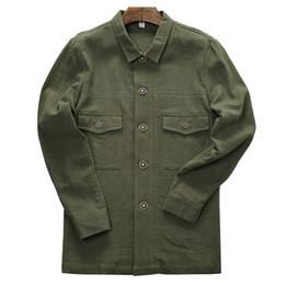2018 Otoño e invierno chaqueta de lino 100% hombres marca moda ejército verde chaquetas masculinas tops casual prendas de vestir exteriores para hombre chaqueta jas desde fabricantes