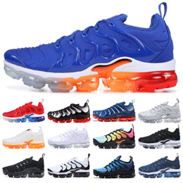 Wholesale Running Shoes - Brand New TN PLUS Men Women Designer Shoes Black Speed Red White Game Royal Anthracite Ultra White Black Running Shoes 2019 Sneakers 36-45