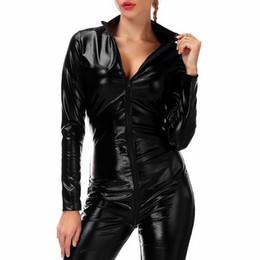 En gros 2019 en cuir verni fermeture à glissière ouverte entrejambe Latex Jumpsuit noir serré Sexy femmes costumes érotiques Body acrylique ? partir de fabricateur