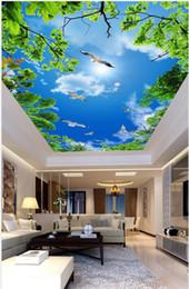 mural branco Desconto Teto costume 3D céu azul Mural Wallpaper nuvens brancas gaivota sala teto do quarto mural