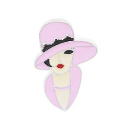 сексуальная красота женщины шляпа булавки и броши косплей булавки кудри красоты эмаль значок нагрудный штифт для платья ну вечеринку подарок леди черный хлопья от