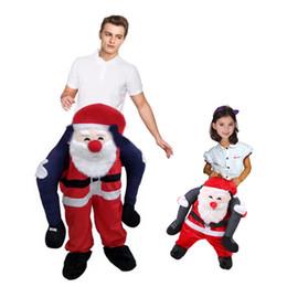 mascote trajes santa claus Desconto 2018 Adulto Crianças Novidade Papai Noel Traje de Natal Carry Back Terno Engraçado Passeio em Santa Traje Da Mascote Unisex Cosplay Roupas