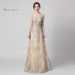 Perla gioiello online-Una linea gioiello Perle Prom Dress 2019 Sexy Abiti da festa Abiti da sera Occasionale abito formale In magazzino 5358