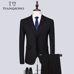 Куртки для церемоний онлайн-Men Ceremony Suit Slim Fit Vertical Stripes Suits Blazer Vest Pants for Tuexdos Dress Suits Groom Wedding Jacket Coats S-6XL
