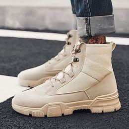 botas estilo britânico homens Desconto Bota dos homens Combate Mens Ankle Boot Estilo Britânico dos homens Sapatos Casuais Alta-Top Não-Deslizamento-Resistente Ao Desgaste-Sapatos de Ferramentas