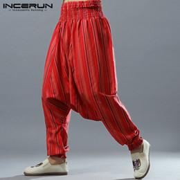 57ed97172 INCERUN 2019 Striped Mens Harem Pants Drop Crotch Loose Elastic Waist Pants  Men Joggers Cotton Linen Hip-hop Nepal Trousers Men discount nepal pants