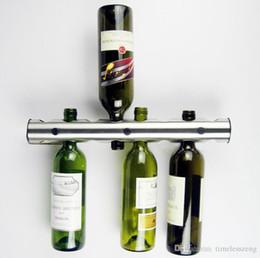 Exhibición de la botella de la barra online-Creativa 8 agujeros 12 hoyos titulares de vino de acero inoxidable barra de la cocina Vino Bastidores titular de la botella de vino del soporte de exhibición del estante organizador