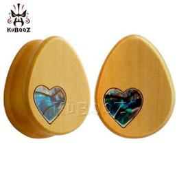 Misuratori di cuore online-48 pz / lotto vendita calda Kubooz piercing legno goccia d'acqua calibri orecchio piercing plugs e tunnel monili del corpo shell cuore logo expander all'ingrosso