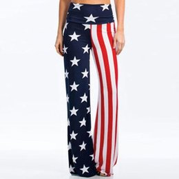 american flags pants wholesale Promo Codes - Fashion summer trousers women High Rise American Flag Wide Leg Pants Leggings Loose Trousers pantalon verano 2019 mujer#BY25