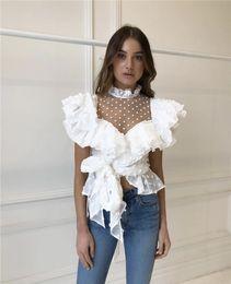 nova blusa de design de moda Desconto 2019 novas mulheres projeto europeu gola de gaze de renda patchwork pontilhada babados chiffon laço arco cintura fina blusa da moda topos