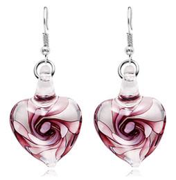 Boucles d'oreilles inspirées en Ligne-Italie Murano inspiré la mode spirale fleur verre boucles d'oreilles forme de coeur Dangle boucles d'oreilles pour les femmes fille 10pairs / lot