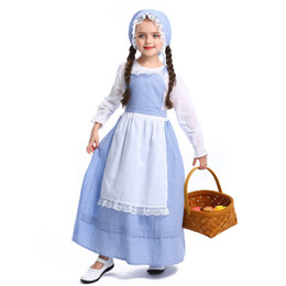 robes rurales Promotion Enfants d'enfants adolescents filles Colonial Pioneer Prairie Costumes Village Rural Farm Girl Halloween Party cosplay