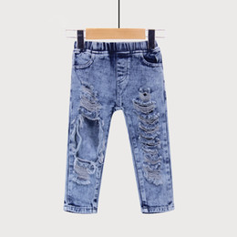 Jeans di moda per bambini online-Fashion Boys Girls Big Hole Jeans Summer Apparel Good Quality Children's Trouser Kids Denim Pants Outerwear Clothes