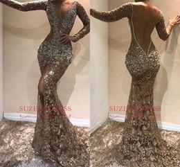 2019 uma mão sereia vestidos Sexy Lantejoulas mangas compridas sereia Vestidos de baile de luxo Open Back profunda V Neck Vestido de Noite Árabe deaign formais Dres Pageant partido