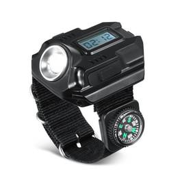 carga da luz da tocha Desconto Camping Mão Estilo Lanternas Com Bússola de Cor Pura de Carregamento USB Ajustável Luz De Pulso Luzes Da Tocha Lâmpadas de Relógio 3qt E1