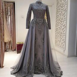 2019 cinza vestido de gola alta Elegante Cinza Vestidos de Noite com Rendas Overskirt Apliques Beading Muçulmano Vestido de Noite Sweep Trem Gola Alta Abric Vestidos Formais cinza vestido de gola alta barato