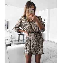 schlange druck kleid frauen Rabatt Frauen-reizvolle Leopard-Schlange-Druck Striped Langarm-V-Ausschnitt-Kleid Damen-lässige Reich Minikleider über Knie-Längen