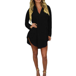 Tops de verano 2019 Blusas de mujer blusa larga Camisas asimétricas floja informal Señora de oficina OL Tops elegantes túnicas femeninas negras desde fabricantes