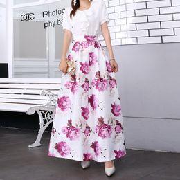 vestido longo maxi da flor Desconto Womens Maxi Saia Impressa Saia De Cintura Alta Swing Dress Flor Saia Longa Plus Size Roupas Escritório Desgaste Do Feriado New Arrival
