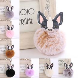Canada Fluffy 8 cm jouets en peluche Boule Porte-clés Chien Pu En Cuir Or Métal Balle De Bal Pom Porte-clés Porte-clés pour Sac Accessoires De Mode Offre