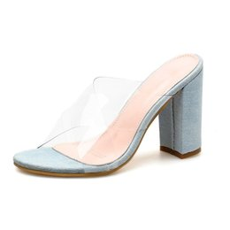 49a04bb89ce3 Transparent Jelly Sandals Slippers Women Summer Denim Block High Heels  Shoes Sexy Clear Cross Strappy Open Toe Ladies Slides