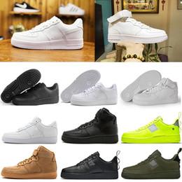 3f8969e202db9b 2019 chaussures pour enfants coupe faible NIKE AF 1 air force 1 Classique  Tout Blanc noir