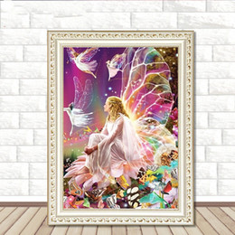 diamond sticker painting Promo Codes - 5D Diamond Painting Living Room Explosive Elf Girl Bedroom Cross Embroidery Brick Sticker Painting