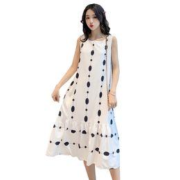 Lacivert / Beyaz Yaz Hamile Kadınlar Elbise Kolsuz O-Boyun Orta buzağı Annelik Şifon A-line Tank Elbise Moda Polka Dot Sundress nereden