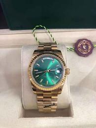 orologi analogici triangolari Sconti Con scatola originale di lusso 36 millimetri 18k orologi moda superiore Oro giallo verde quadrante dell'orologio da polso 18038 Uomo Automatic Watch