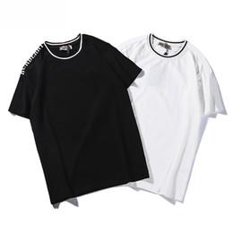 Camisa branca pura on-line-Designer de Marca Das Mulheres Dos Homens T Camisa Nova 2019 Verão Preto e Branco Design de Luxo T Shirt Da Marca Pure Color Moda Tamanho De S Para 2XL