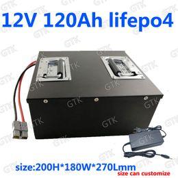 Canada GTK Lifepo4 12V 120AH batterie au lithium BMS 12.6V pour la voiture de secours voiture de golf inverseur chariot de golf RV lutte contre le feu + chargeur 10A supplier 12v car power inverter Offre